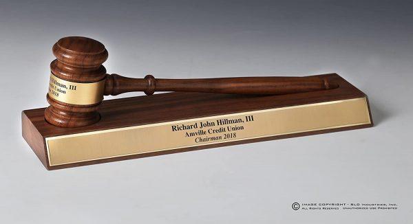 SLD Awards Pianowood and Walnut Customizable Wood Gavel Gift Sets