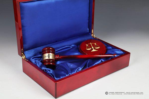 SLD Awards Blue Felt Lined Rosewood Laser Engraved Pianowood Gavel and Presentation Box Gift Set