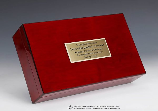 SLD Awards Rosewood Laser Engraved Pianowood Gavel and Presentation Box Gift Set