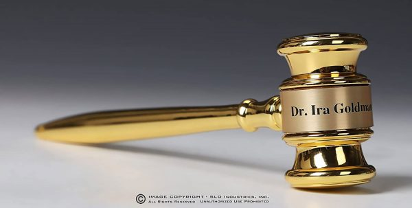 Solid Brass Gavel in Rosewood Gift Presentation Box with Engraved Plate